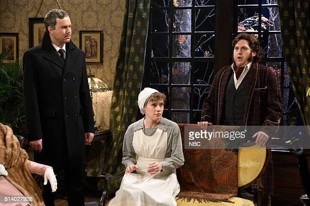 LIVE Jonah Hill Episode 1697 Pictured Taran Killam Kate McKinnon and Jonah Hill during the Murder Mysteries sketch on March 5 2016