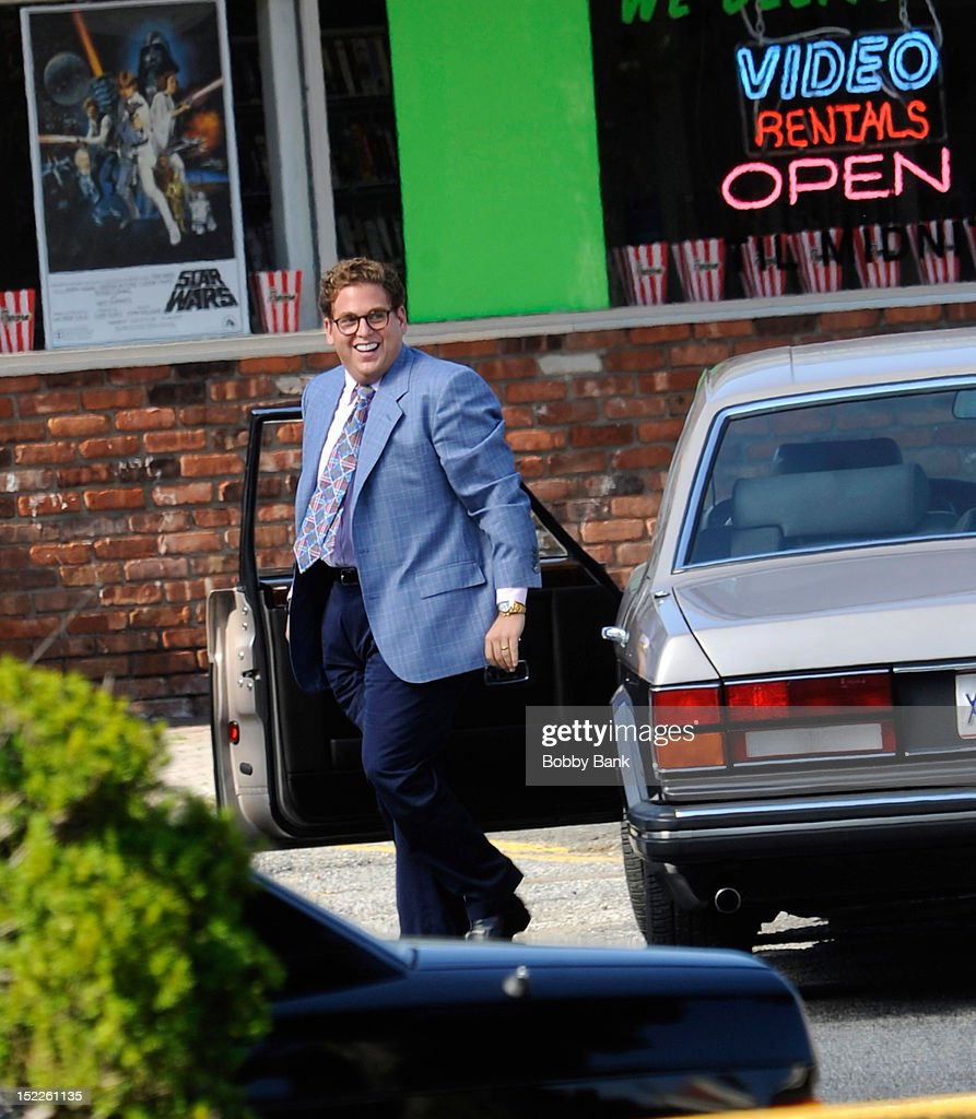 Jonah Hill filming on location for 'The Wolf Of Wall Street' on September 17, 2012 in Emerson, New Jersey.