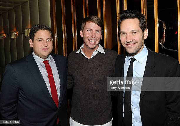 Jonah Hill Jack McBrayer and Paul Rudd attend the after party for the Cinema Society People StyleWatch with Grey Goose screening of Friends With Kids...