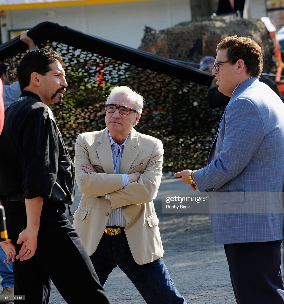 Jonah Hill, Jon Bernthal and director Martin Scorsese filming on location for 'The Wolf Of Wall Street' on September 17, 2012 in Emerson, New Jersey.