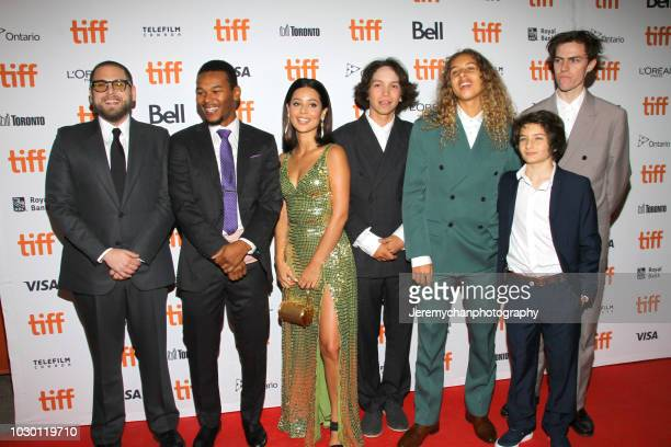 Jonah Hill Nakel Smith Alexa Demie Gio Galicia Olan Prenatt Sunny Suljic and Ryder McLaughlin attend the Mid90s Premiere during 2018 Toronto...