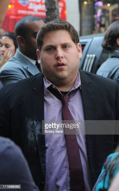 Jonah Hill on location for 'Get Him To The Greek' in Rockefeller Center on August 1 2009 in New York New York