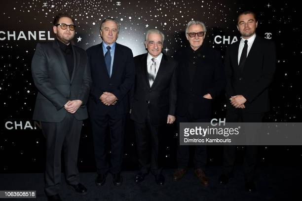 Jonah Hill Robert De Niro Martin Scorsese Harvey Keitel and Leonardo DiCaprio attend The Museum Of Modern Art Film Benefit Presented By CHANEL A...