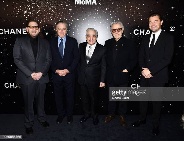 Jonah Hill Robert De Niro Martin Scorsese Harvey Keitel and Leonardo DiCaprio attend the 2018 Museum of Modern Art Film Benefit A Tribute To Martin...