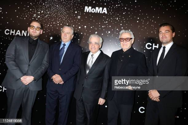 Jonah Hill Robert DeNiro Martin Scorsese Harvey Keitel and Leonardo DiCaprio attend the Museum of Modern Art Film Benefit Presented by Chanel A...
