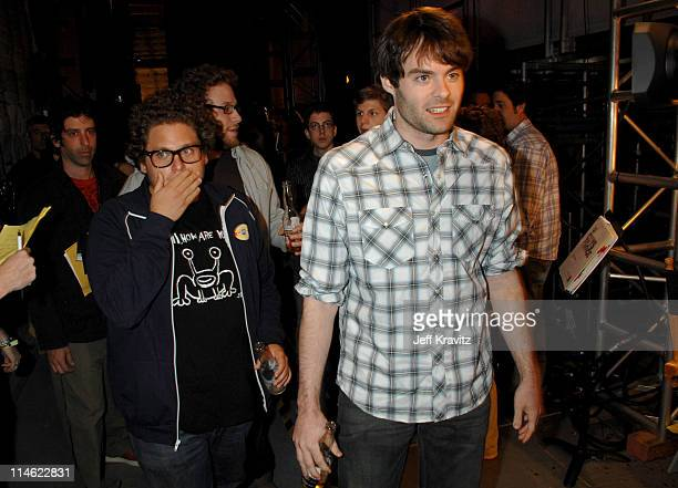 Jonah Hill Seth Rogen and Bill Hader during First Annual Spike TV's Guys Choice Backstage and Audience at Radford Studios in Los Angeles California...