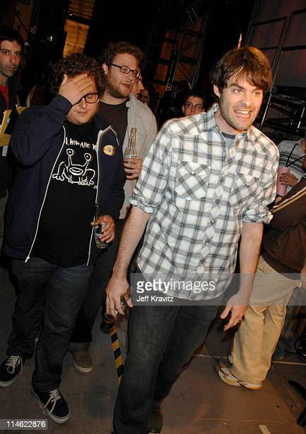 Jonah Hill, Seth Rogen and Bill Hader during First Annual Spike TV's Guys Choice - Backstage and Audience at Radford Studios in Los Angeles,...