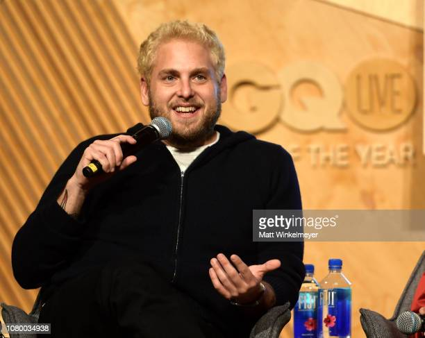 Jonah Hill speaks onstage at GQ Live The World Of Jonah Hill With The Cast Of 'Mid90s' at NeueHouse Los Angeles on December 07 2018 in Hollywood...