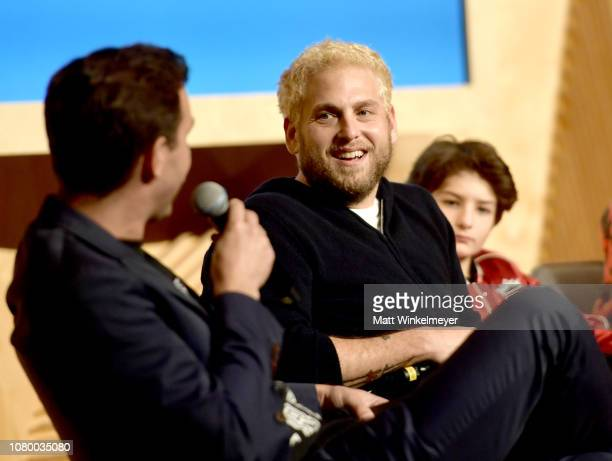 Jonah Hill Sunny Suljic and Nakel Smith speak onstage at GQ Live The World Of Jonah Hill With The Cast Of 'Mid90s' at NeueHouse Los Angeles on...