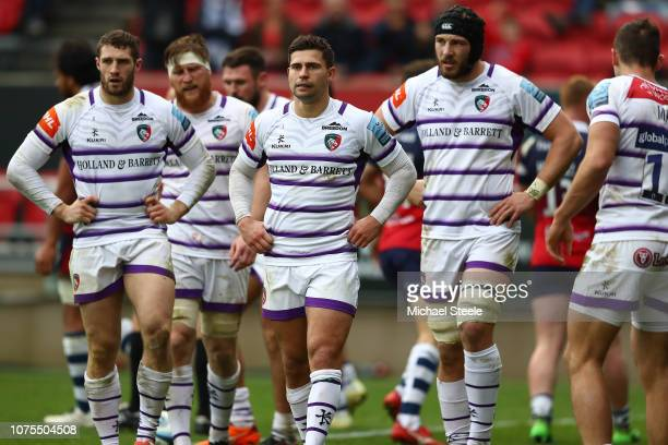 Jonah Holmes Ben Youngs and Harry Wells of Leicester Tigers look dejected after conceding a try during the Gallagher Premiership Rugby match between...