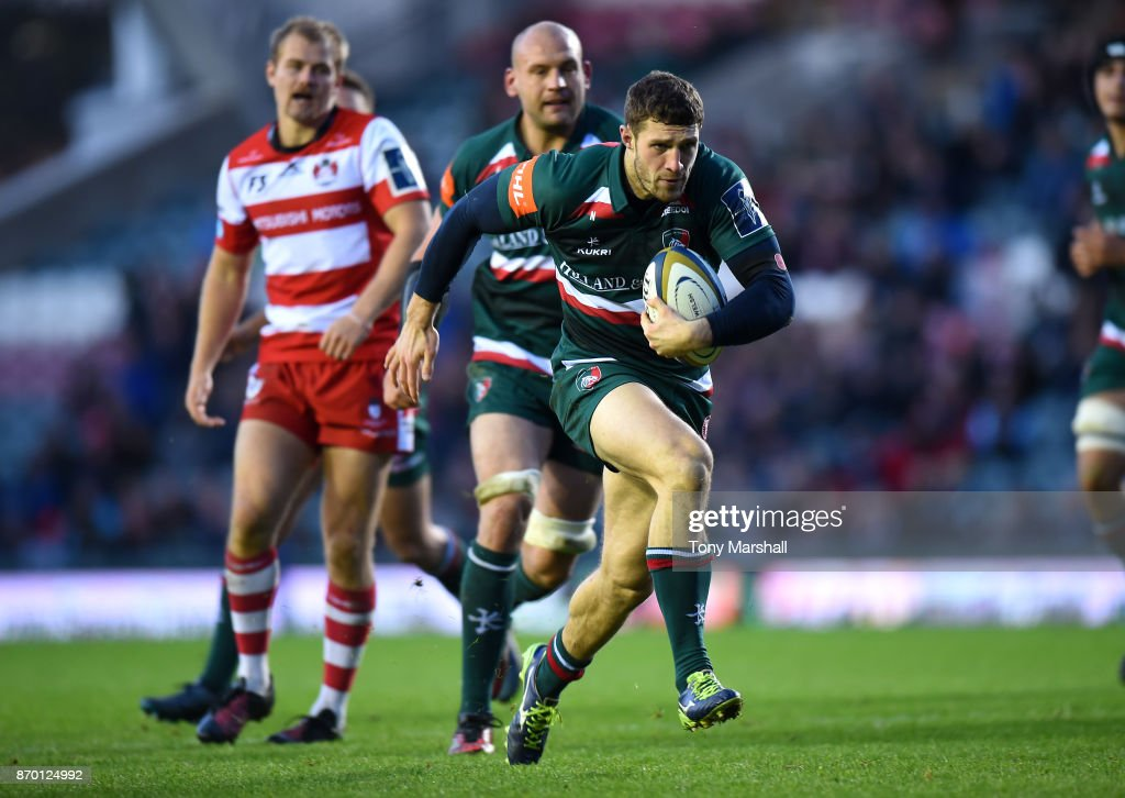 Jonah Holmes of Leicester Tigers powers in to score a try during the Anglo-Welsh Cup match at Welford Road on November 4, 2017 in Leicester, England.