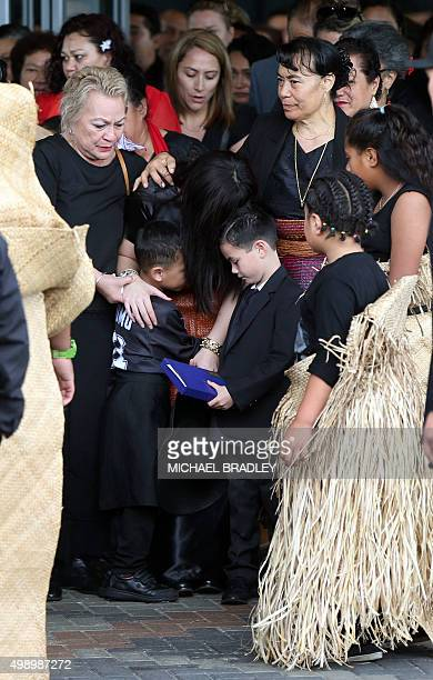 Jonah Lomu's wife Nadene Quirk and two children Brayley and Dhyreille arrive at the Jonah Lomu Aho Faka Famili a unique celebration of his life in...
