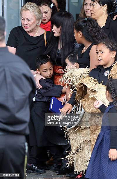 Jonah Lomu's wife Nadene Quirk and two children Brayley and Dhyreille arrive at the Jonah Lomu Aho Faka Famili a celebration of his life in Auckland...