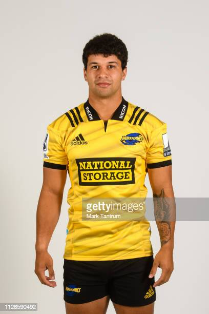 Jonah lowe poses during a Hurricanes Super Rugby headshots session on February 01 2019 in Wellington New Zealand