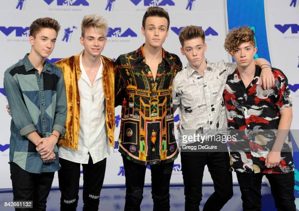 Jonah Marais Corbyn Besson Daniel Seavey Jack Avery and Zachary Herron of Why Don't We arrive at the 2017 MTV Video Music Awards at The Forum on...