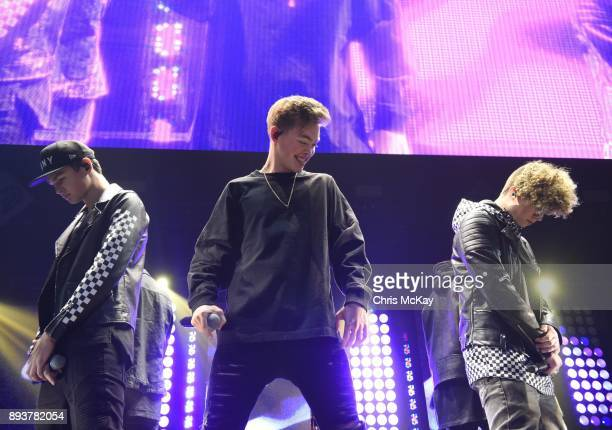 Jonah Marais Daniel Seavey and Jack Avery of Why Don't We perform during Power 961's iHeartRadio Jingle Ball 2017 at Philips Arena on December 15...