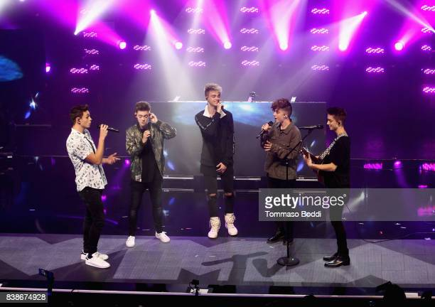 Jonah Marais Jack Avery Corbyn Besson Zach Herron and Daniel Seavey of Why Don't We perform onstage during MTV Presents VMA Weekend at Avalon on...