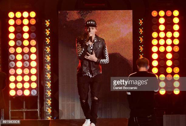 Jonah Marais of Why Don't We performs onstage during 1035 KISS FM's Jingle Ball 2017 at Allstate Arena on December 13 2017 in Rosemont Illinois