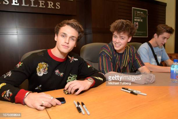 Jonah Marais Zach Herron and Daniel Seavey of Why Don't We attend a signing event for their book Why Don't We In the Limelight at Barnes Noble at The...
