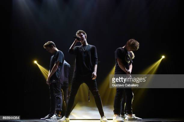 Jonah Maris Zach Herron and Jack Avery of Why Don't We perform onstage during 933 FLZ's Jingle Ball 2017 at Amalie Arena on December 16 2017 in Tampa...