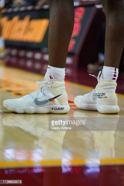 Jonah Mathews of the USC Trojans wears the Nike Off White Hyperdunks in a game against the Colorado Buffaloes at Galen Center on February 09, 2019 in...