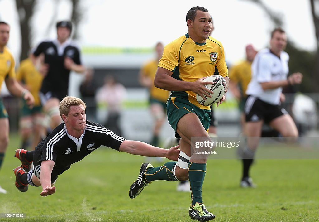 Jonah Placid of Australia in action during the Test between New Zealand Schools and Australia Schools at Auckland Grammar on October 6, 2012 in Auckland, New Zealand.