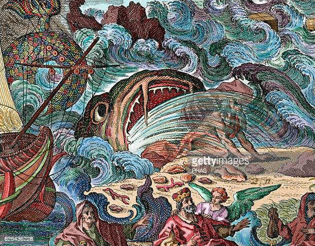 Jonah vomited by the great fish upon the shore Book of Jonah Chapter 2 Engraving Colored
