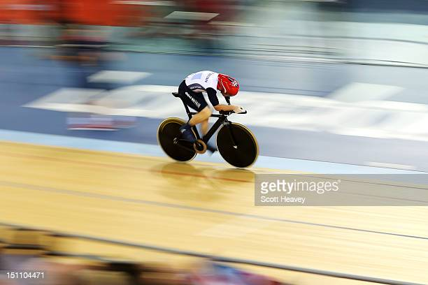 Jon-Allan Butterworth of Great Britain competes in the Men's Individual C5 Pursuit Final on day 3 of the London 2012 Paralympic Games at Velodrome on...