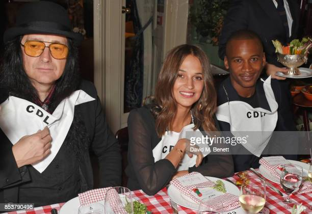 Jonas Akerlund Alicia Vikander and Eric Underwood attend the CDLP Crayfish Party at Mark's Club on September 25 2017 in London England