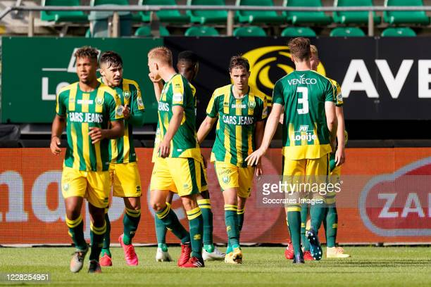 Jonas Arweiler of ADO Den Haag celebrates 1-0 with Andrei Florin Ratiu of ADO Den Haag, Peet Bijen of ADO Den Haag during the Club Friendly match...