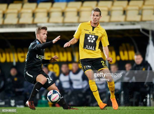 Jonas Bager of Randers FC and Jonas Borring of AC Horsens compete for the ball during the Danish Alka Superliga match between AC Horsens and Randers...