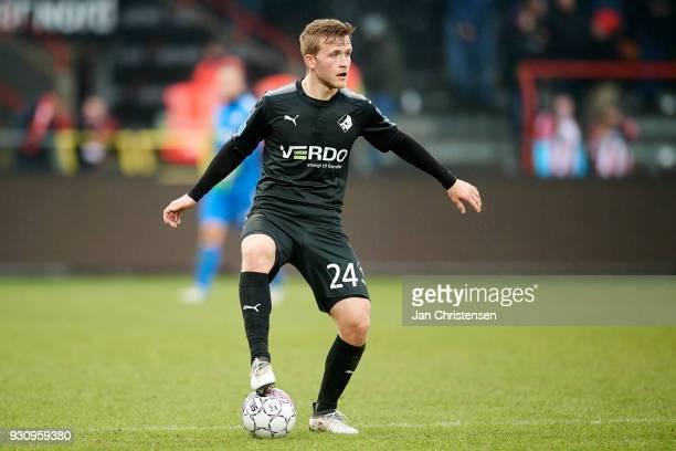 Jonas Bager of Randers FC controls the ball during the Danish Alka Superliga match between AaB Aalborg and Randers FC at Aalborg Portland Park on...