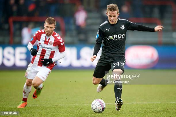Jonas Bager of Randers FC in action during the Danish Alka Superliga match between AaB Aalborg and Randers FC at Aalborg Portland Park on March 11...