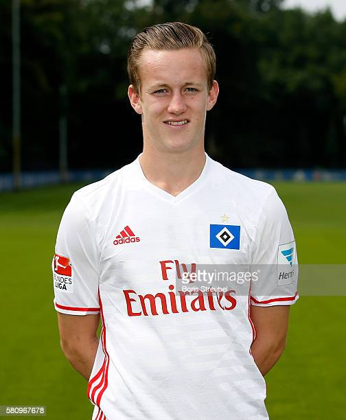 Jonas Behounek of Hamburger SV poses during the Hamburger SV Team Presentation at Volksparkstadion on July 25 2016 in Hamburg Germany