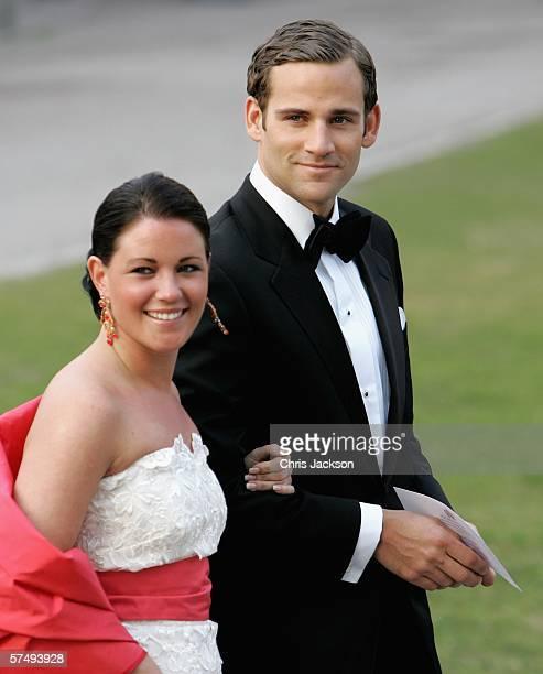 Jonas Bergstrom boyfriend of Swedish Crown Princess Madeleine arrives with Emma Pernald girlfriend of Swedish Prince Carl Philip for HM King Carl XVI...