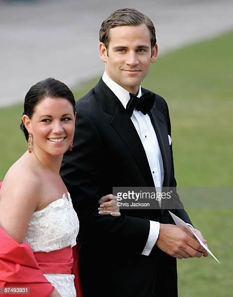 Jonas Bergstrom, boyfriend of Swedish Crown Princess Madeleine, arrives with Emma Pernald, girlfriend of Swedish Prince Carl Philip, for H.M. King...