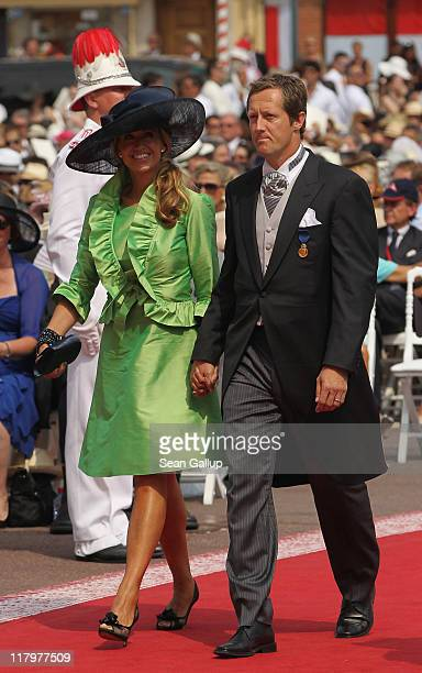 Jonas Bjorkman and guest attend the religious ceremony of the Royal Wedding of Prince Albert II of Monaco to Princess Charlene of Monaco in the main...