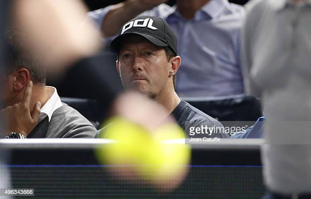 Jonas Bjorkman, coach of Andy Murray looks on during the final on day 7 of the BNP Paribas Masters held at AccorHotels Arena on November 8, 2015 in...