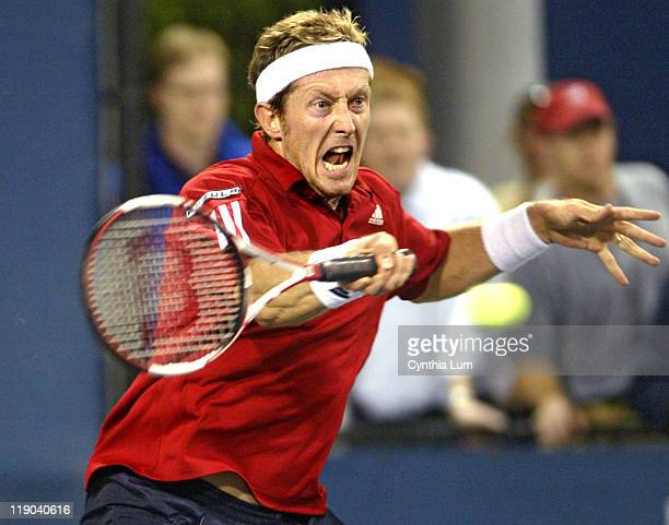 Jonas Bjorkman of Sweden, in action, defeating Scoville Jenkins of the USA, 7-5, 6-4, 6-4 in the first round of the US Open, at the Billie Jean King...