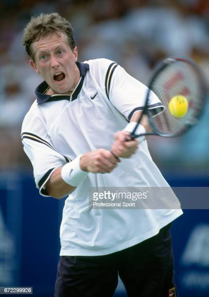 Jonas Bjorkman of Sweden in action during the Australian Open Tennis Championships in Melbourne, circa January 1999. Bjorkman lost in the first round...