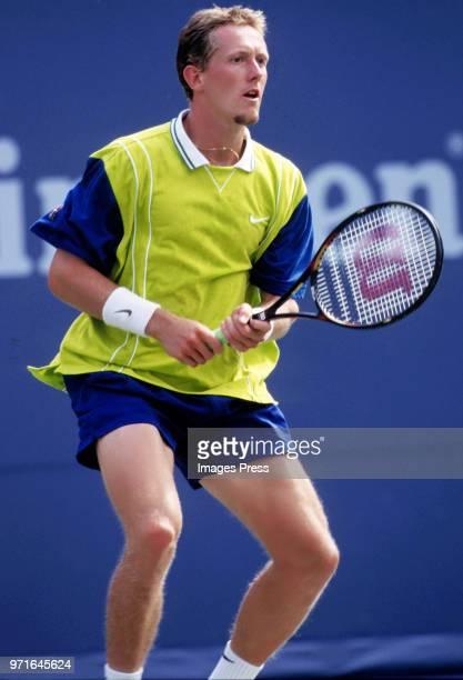 Jonas Bjorkman plays tennis at the US Open circa 1998 in New York City.