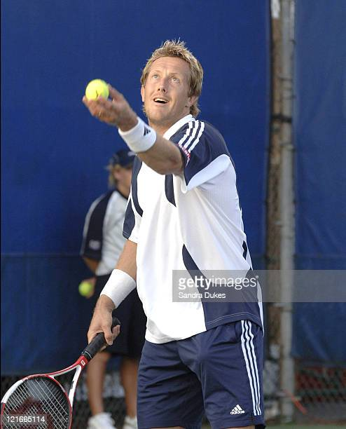 Jonas Bjorkman prepares to serve in his match with Karol Beck won by Beck 64 75 in the RCA Championships in Indianapolis IN