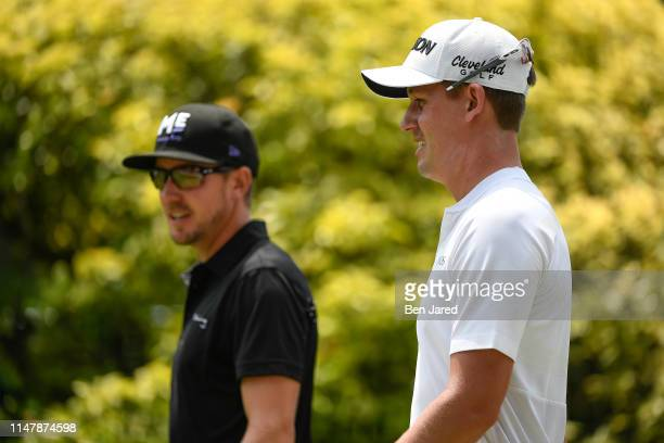 Jonas Blixt of Sweden and Andrew Putnam walk off the first tee box together during the final round of the Charles Schwab Challenge at Colonial...