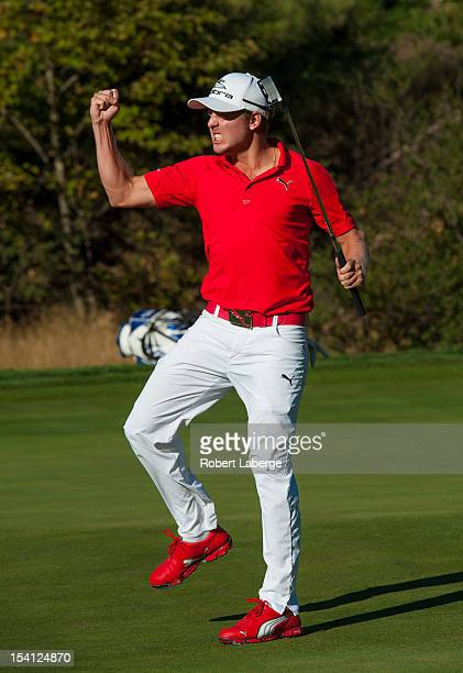 Jonas Blixt of Sweden celebrates making a par putt on the 18th hole to win the Frys.com Open at the CordeValle Golf Club on October 14, 2012 in San...