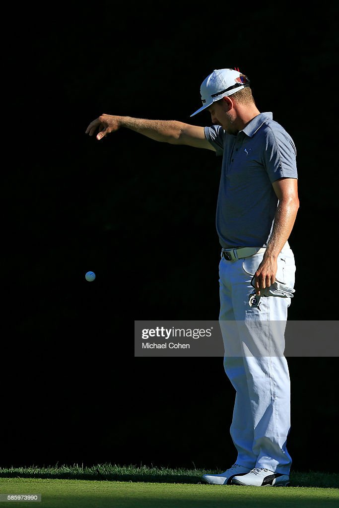 Jonas Blixt of Sweden drops his ball on the 14th green during the first round of the travelers Championship at TPC River Highlands on August 4, 2016 in Cromwell, Connecticut.