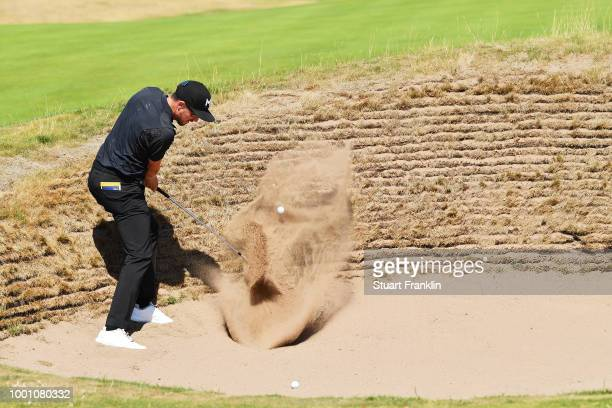 Jonas Blixt of Sweden hits a bunker shot during previews to the 147th Open Championship at Carnoustie Golf Club on July 18, 2018 in Carnoustie,...