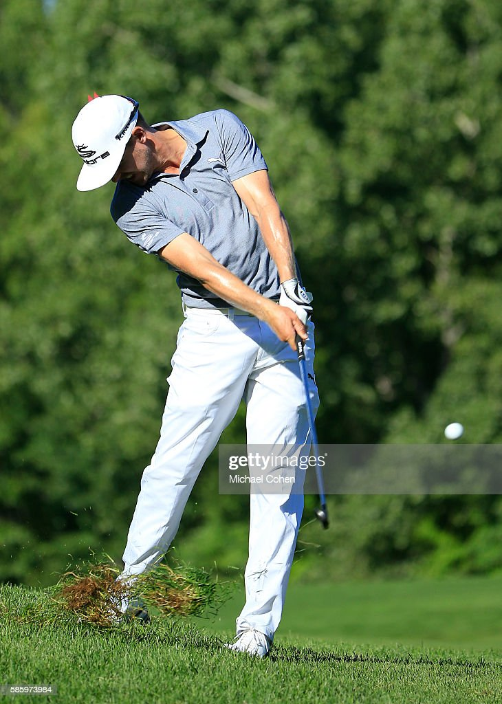 Jonas Blixt of Sweden hits his shot on the 14th hole during the first round of the travelers Championship at TPC River Highlands on August 4, 2016 in Cromwell, Connecticut.
