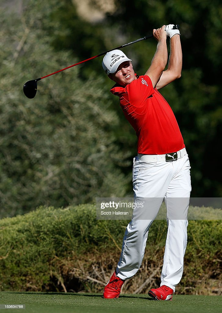 Jonas Blixt of Sweden hits his tee shot on the 16th hole during the final round of the Justin Timberlake Shriners Hospitals for Children Open at TPC Summerlin on October 7, 2012 in Las Vegas, Nevada.