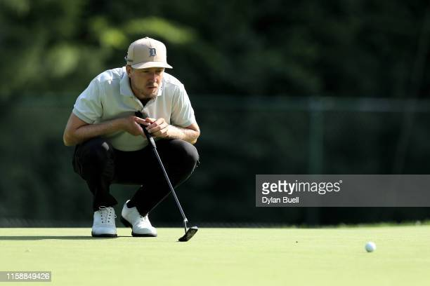 Jonas Blixt of Sweden lines up a putt on the eighth green during round two of the Rocket Mortgage Classic at the Detroit Country Club on June 28,...