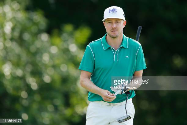 Jonas Blixt of Sweden looks on after playing a shot on the 17th hole during the continuation of the third round of the AT&T Byron Nelson at Trinity...